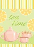 Tarjeta. Un tema de consumición del té. libre illustration