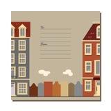 Tarjeta universal con los edificios europeos viejos del estilo Casas de Amsterdam