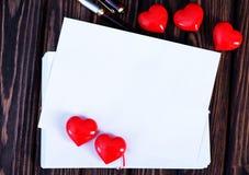 Tarjeta vacía de la tarjeta del día de San Valentín del copyspace Foto de archivo libre de regalías