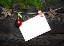 Tarjeta vacía para los saludos de la Navidad Fotografía de archivo libre de regalías
