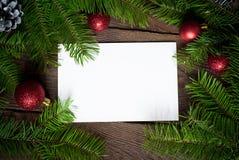 Tarjeta vacía para los saludos de la Navidad Imagenes de archivo