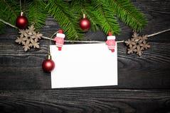 Tarjeta vacía para los saludos de la Navidad Foto de archivo