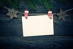 Tarjeta vacía para los saludos de la Navidad Imagen de archivo libre de regalías