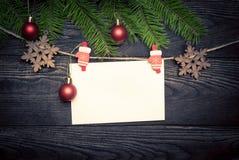 Tarjeta vacía para los saludos de la Navidad Fotos de archivo