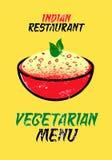 Tarjeta vegetariana del menú para el restaurante indio Ilustración del vector Diseño tipográfico del grunge Fotos de archivo
