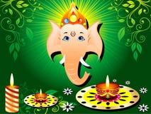 Tarjeta verde abstracta del diwali con la vela stock de ilustración