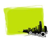 Tarjeta verde con la ciudad. Vector Fotos de archivo libres de regalías