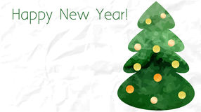 Tarjeta verde del árbol de navidad de la acuarela Foto de archivo libre de regalías