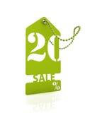 Tarjeta verde el 20% de la venta Imagenes de archivo