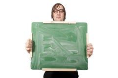 Tarjeta verde en blanco Fotos de archivo libres de regalías