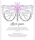 Tarjeta vertical con el modelo espiritual de la libélula con las gotas y espacio para el texto Plantilla m?gica ilustración del vector