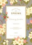 Tarjeta vertical de la primavera del vector del vintage stock de ilustración