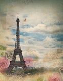 Tarjeta vieja con París foto de archivo