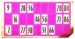 Tarjeta vieja de la loteria Fotografía de archivo