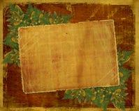 Tarjeta vieja del grunge con las hojas de otoño. Imagen de archivo