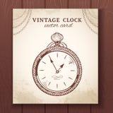 Tarjeta vieja del reloj de bolsillo del vintage Fotografía de archivo