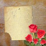 Tarjeta vieja del vintage con la rosa hermosa del rojo en el fondo de papel Fotos de archivo