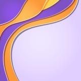 Tarjeta violeta amarilla abstracta con las ondas y las líneas Imágenes de archivo libres de regalías