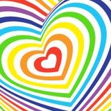 Tarjeta volumétrica tridimensional del día de tarjetas del día de San Valentín arco iris colorido en el fondo blanco Vector Foto de archivo libre de regalías