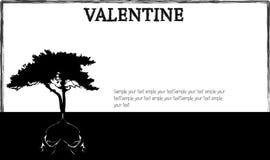 Tarjeta y árboles de la tarjeta del día de San Valentín Fotos de archivo libres de regalías