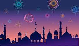 Tarjeta y bandera de felicitación del kareem del Ramadán Linterna islámica en fondo de las estrellas del abd de la luna Ilustraci libre illustration