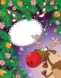 Tarjeta y ciervos del caramelo de la Navidad Imagen de archivo libre de regalías