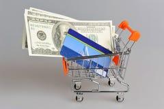 Tarjeta y dinero de crédito dentro del carro de la compra en gris Fotos de archivo libres de regalías