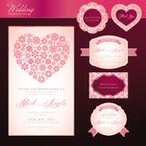 Tarjeta y elementos de la invitación de la boda Fotografía de archivo