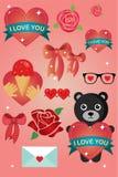 Tarjeta y etiquetas engomadas de felicitación del día de San Valentín ilustración del vector