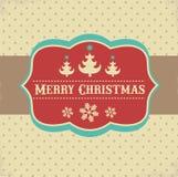 Tarjeta y fondo de felicitación de Navidad del vintage Imagen de archivo libre de regalías