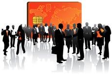 Tarjeta y hombres de negocios de actividades bancarias Imagen de archivo