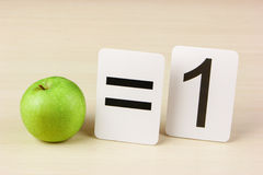 Tarjeta y manzana de la escuela con matemáticas Foto de archivo