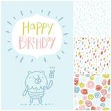 Tarjeta y modelos de la fiesta de cumpleaños fijados ilustración del vector