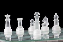 Tarjeta y pedazos de cristal de ajedrez Fotografía de archivo libre de regalías