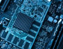 Tarjeta y procesadores de circuitos de ordenador Imagen de archivo libre de regalías