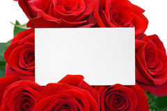 Tarjeta y rosas imagen de archivo