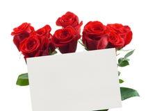 Tarjeta y rosas Fotos de archivo