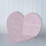 Tarjetas abstractas con los corazones y el confeti de papel Rose roja stock de ilustración