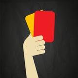 Tarjetas amarillas rojas y del árbitro Fotos de archivo