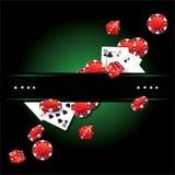 Tarjetas Chips Casino Poker ilustración del vector