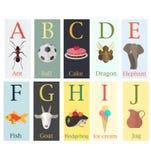 Tarjetas coloridas con alfabeto y la imagen de la primera letra del th stock de ilustración