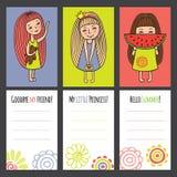 Tarjetas coloridas con las muchachas divertidas Fotos de archivo libres de regalías