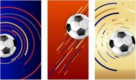 Tarjetas coloridas del fútbol con el balón de fútbol libre illustration