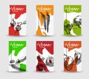 Tarjetas coloridas del vegano con las verduras stock de ilustración