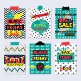 Tarjetas coloridas y enrrolladas e iconos de la venta de Black Friday fijados Imágenes de archivo libres de regalías