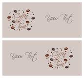 Tarjetas con café y la descripción Imagen de archivo libre de regalías