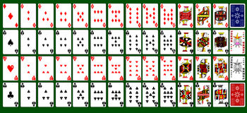 52 tarjetas con dos comodines Imagenes de archivo