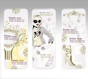Tarjetas con el diseño para las compras de la manera Imagen de archivo libre de regalías