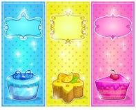 Tarjetas con las tortas stock de ilustración