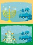 tarjetas con las velas del árbol de navidad y de Channuka Fotos de archivo libres de regalías